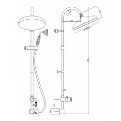 Traditional Rigid Riser Kit With Concealed Elbow - Technical Drawing