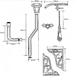 High Level Flush Pipe Pack - Technical Drawing