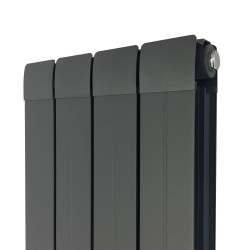 Princess Anthracite Aluminium Radiator - 318 x 1800mm - Closeup of top