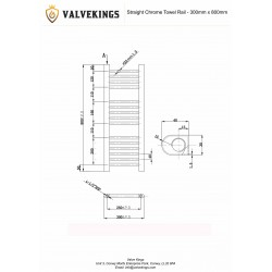 Straight Chrome Towel Rail - 300 x 800mm - Technical Drawing