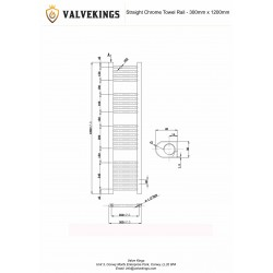 Straight Chrome Towel Rail - 300 x 1200mm - Technical Drawing