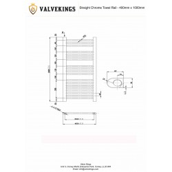 Straight Chrome Towel Rail - 400 x 1000mm - Technical Drawing
