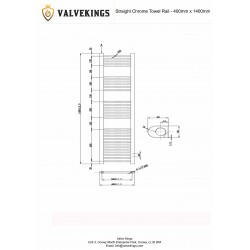 Straight Chrome Towel Rail - 400 x 1400mm - Technical Drawing