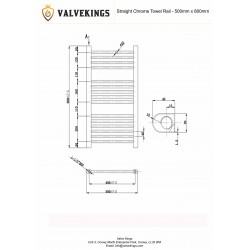 Straight Chrome Towel Rail - 500 x 800mm - Technical Drawing