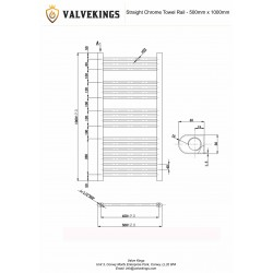 Straight Chrome Towel Rail - 500 x 1000mm - Technical Drawing