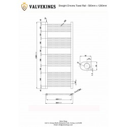 Straight Chrome Towel Rail - 500 x 1200mm - Technical Drawing