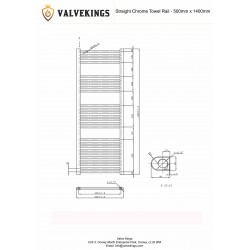 Straight Chrome Towel Rail - 500 x 1400mm - Technical Drawing
