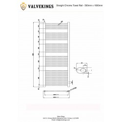 Straight Chrome Towel Rail - 500 x 1600mm - Technical Drawing