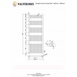 Straight Chrome Towel Rail - 500 x 1800mm - Technical Drawing