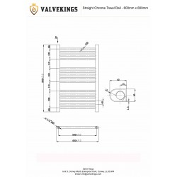 Straight Chrome Towel Rail - 600 x 800mm - Technical Drawing