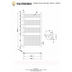 Straight Chrome Towel Rail - 600 x 1000mm - Technical Drawing