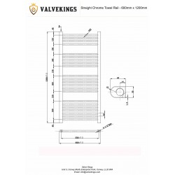 Straight Chrome Towel Rail - 600 x 1200mm - Technical Drawing