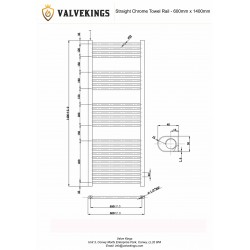Straight Chrome Towel Rail - 600 x 1400mm - Technical Drawing