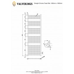 Straight Chrome Towel Rail - 600 x 1600mm - Technical Drawing