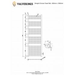 Straight Chrome Towel Rail - 600 x 1600mm - Technical Drawing