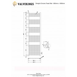 Straight Chrome Towel Rail - 600 x 1800mm - Technical Drawing