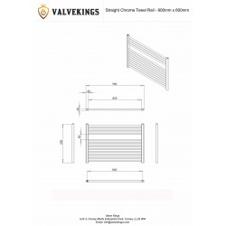 Straight Chrome Towel Rail - 900 x 600mm - Technical Drawing