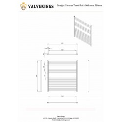 Straight Chrome Towel Rail - 900 x 900mm - Technical Drawing