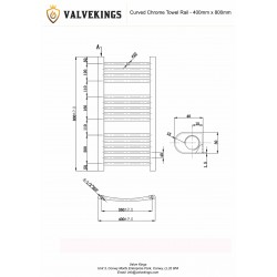 Straight Chrome Towel Rail - 400 x 800mm - Technical Drawing