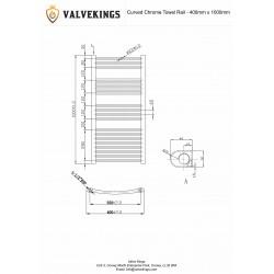 Straight Chrome Towel Rail - 400 x 1000mm - Technical Drawing