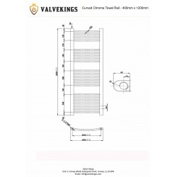 Curved Chrome Towel Rail - 400 x 1200mm - Technical Drawing
