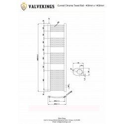 Curved Chrome Towel Rail - 400 x 1400mm - Technical Drawing