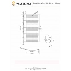 Curved Chrome Towel Rail - 500 x 1000mm - Technical Drawing