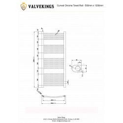 Curved Chrome Towel Rail - 500 x 1200mm - Technical Drawing