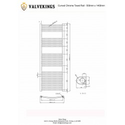 Curved Chrome Towel Rail - 500 x 1400mm - Technical Drawing