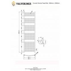 Curved Chrome Towel Rail - 500 x 1600mm - Technical Drawing