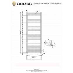 Curved Chrome Towel Rail - 500 x 1800mm - Technical Drawing