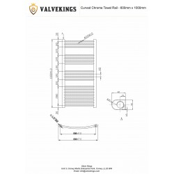 Curved Chrome Towel Rail - 600 x 1000mm - Technical Drawing