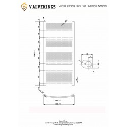 Curved Chrome Towel Rail - 600 x 1200mm - Technical Drawing