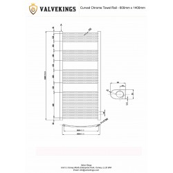 Curved Chrome Towel Rail - 600 x 1400mm - Technical Drawing
