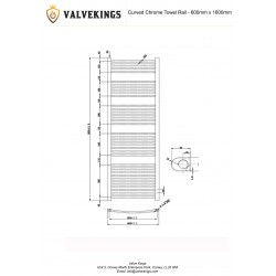 Curved Chrome Towel Rail - 600 x 1600mm - Technical Drawing
