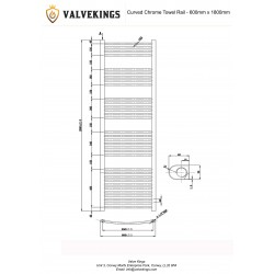 Curved Chrome Towel Rail - 600 x 1800mm - Technical Drawing