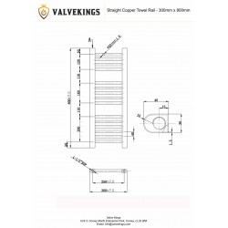 Straight Copper Towel Rail - 300 x 800mm - Technical Drawing