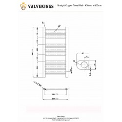 Straight Copper Towel Rail - 400 x 800mm - Technical Drawing