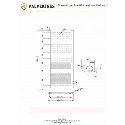 Straight Copper Towel Rail - 400 x 1200mm - Technical Drawing