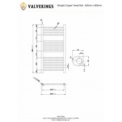 Straight Copper Towel Rail - 500 x 800mm - Technical Drawing