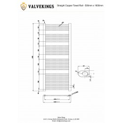 Straight Copper Towel Rail - 500 x 1600mm -  Technical Drawing