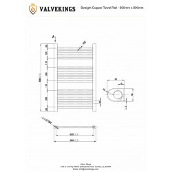 Straight Copper Towel Rail - 600 x 800mm - Technical Drawing