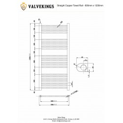 Straight Copper Towel Rail - 600 x 1200mm - Technical Drawing