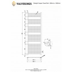 Straight Copper Towel Rail - 600 x 1600mm - Technical Drawing