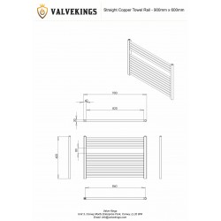 Straight Copper Towel Rail - 900 x 600mm - Technical Drawing