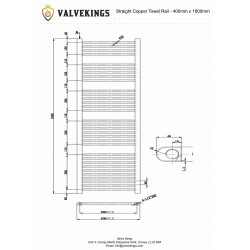 Straight Copper Towel Rail - 400 x 1600mm -   Technical Drawing