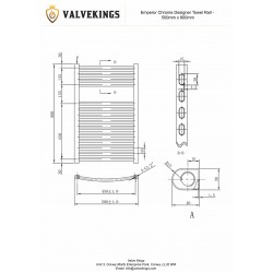 Emperor Chrome Designer Towel Rail - 500 x 800mm - Technical Drawing