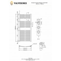 Emperor Chrome Designer Towel Rail - 500 x 1100mm - Technical Drawing