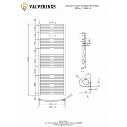 Emperor Chrome Designer Towel Rail - 600 x 1400mm - Technical Drawing
