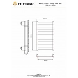 Kaiser Chrome Designer Towel Rail - 500 x 950mm - Technical Drawing